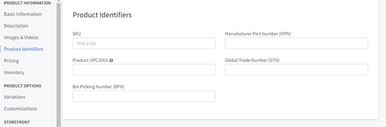 bigcommerce product identifiers