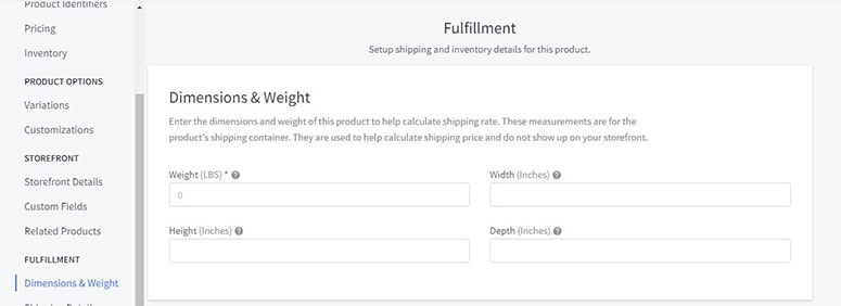bigcommerce weights dimensions