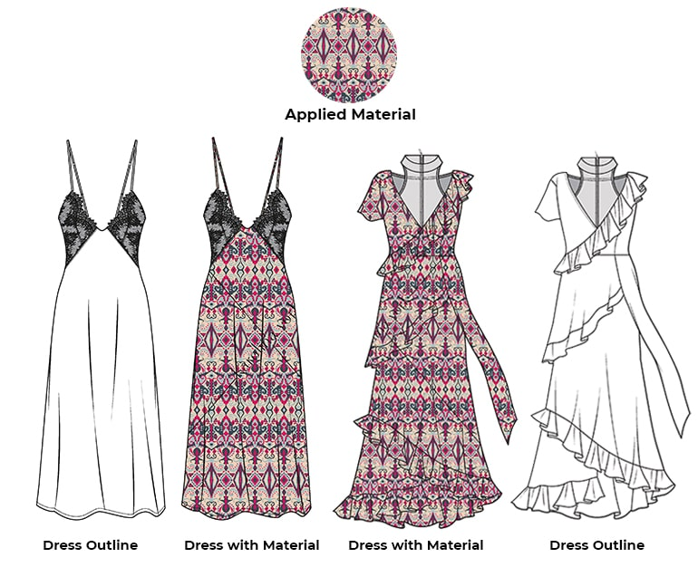 dress product with pattern sample