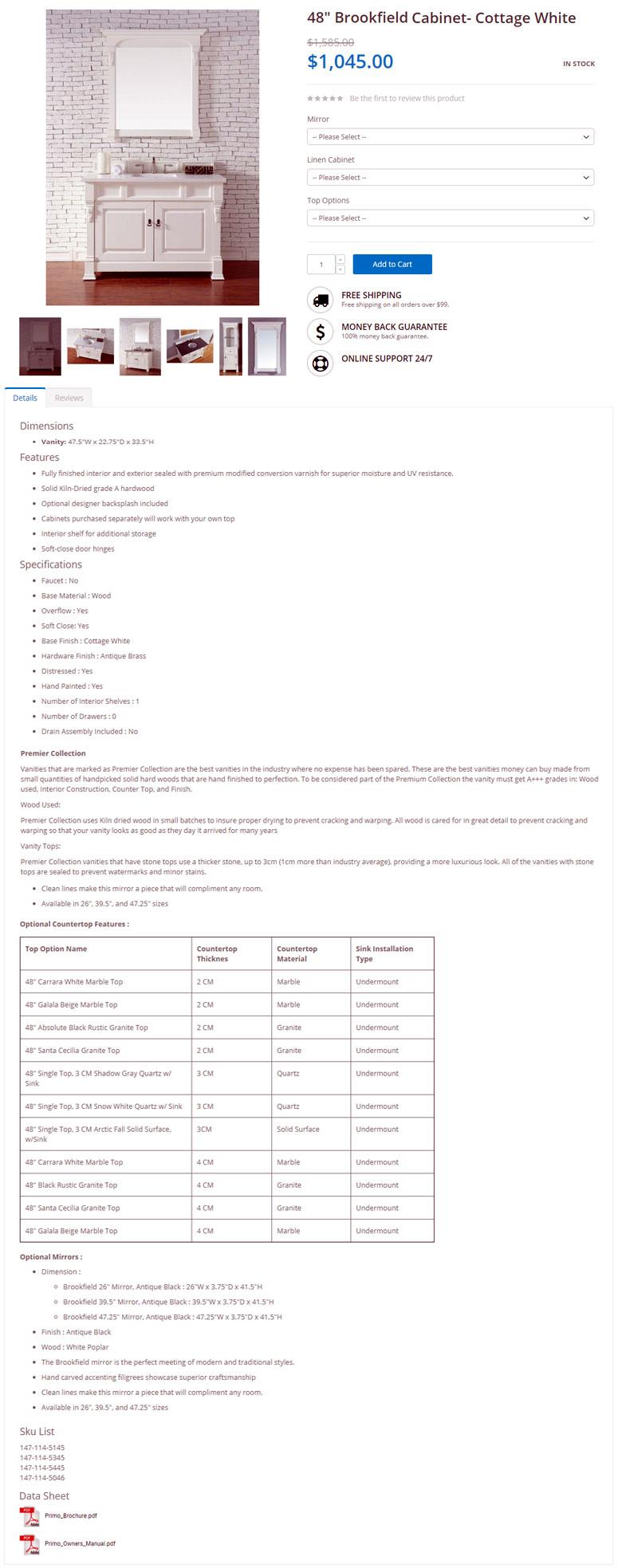 ecommerce product description sample