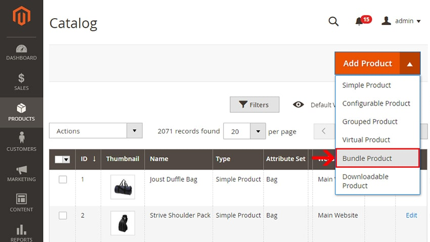 how to create bundle products in magento 2 add product