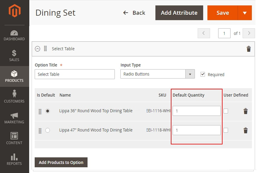 how to create bundle products in magento 2 add selected products default quantity