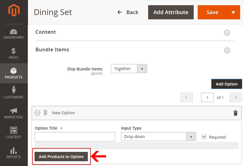 how to create bundle products in magento 2 adding products to option