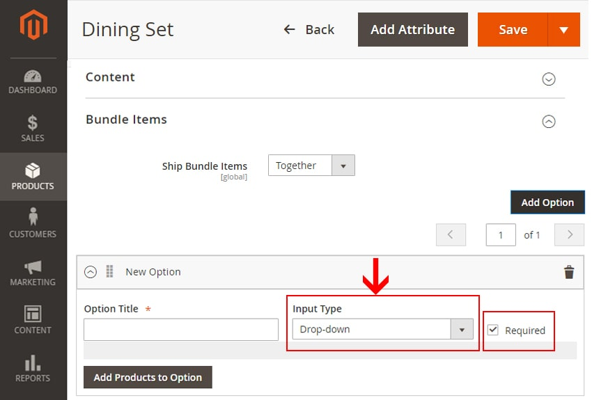 how to create bundle products in magento 2 select input type required