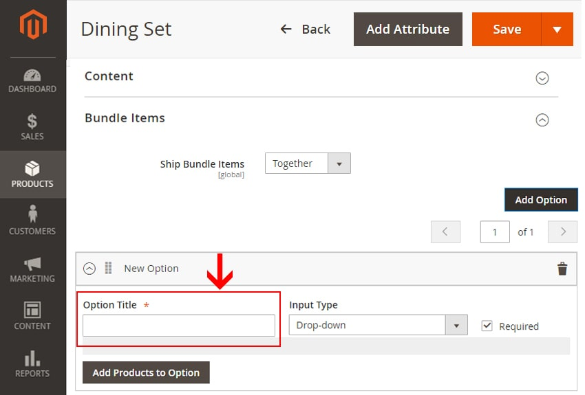 how to create bundle products in magento 2 set option title