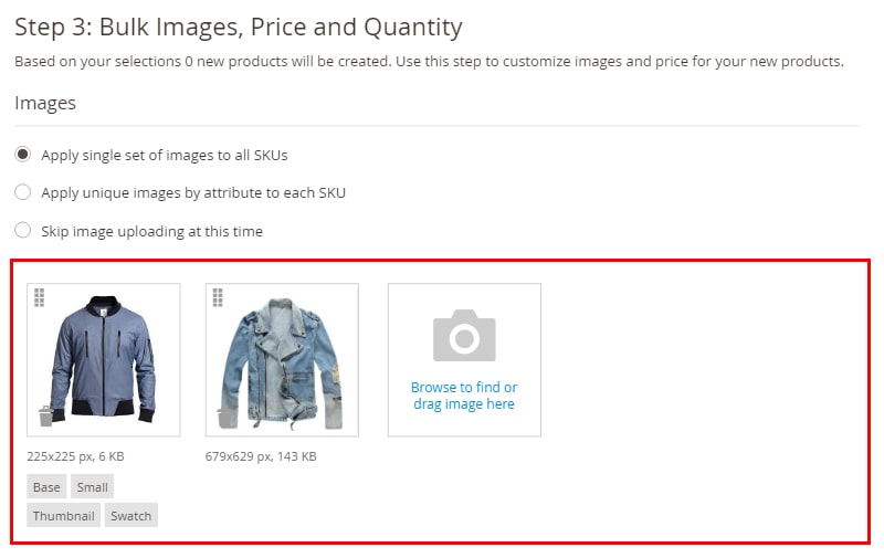 apply single set of images to all skus