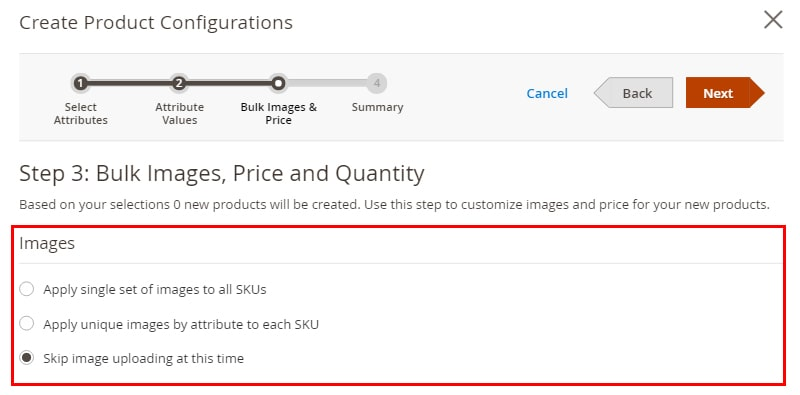 Configure bulk images, price, quantity options to create Magento 2 Configurable products