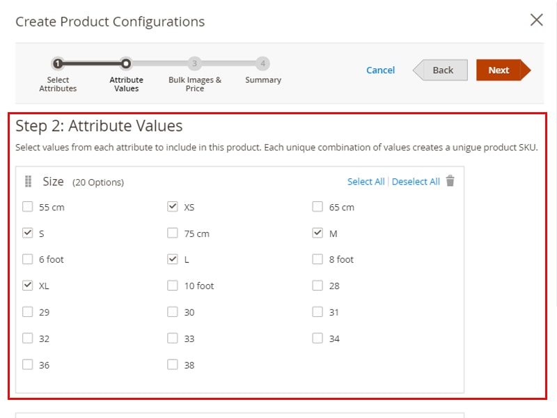 select the attribute values to create Configurable product in Magento 2