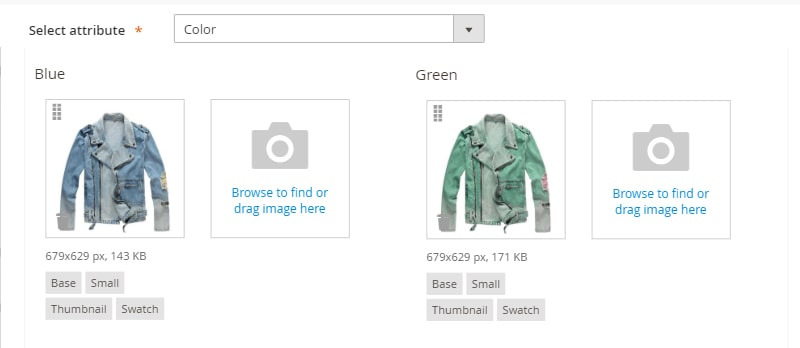 upload or drag the image of the product based on the color