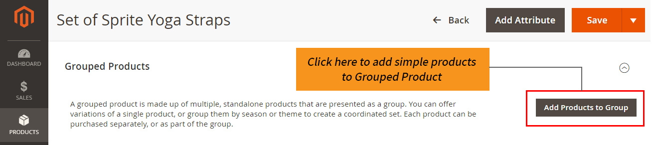 how to create magento 2 grouped product add products to group