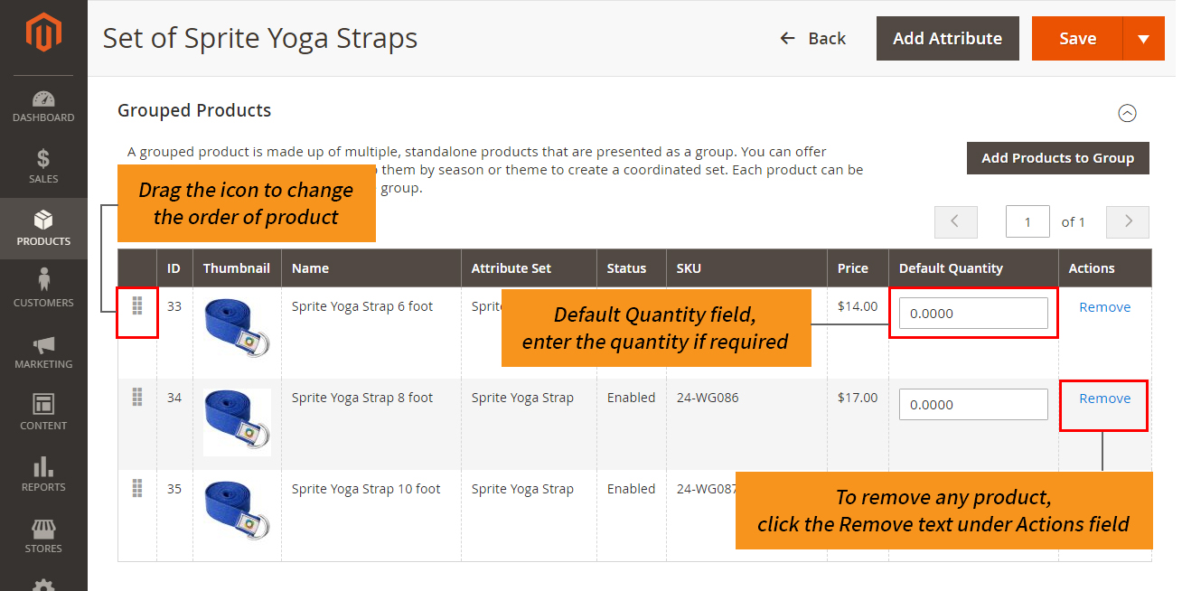 how to create magento 2 grouped product default quantity order and removal of product