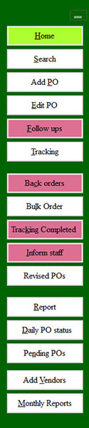 order processing software menu