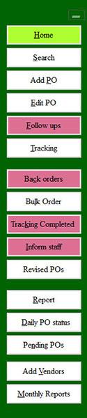 order processing software menu
