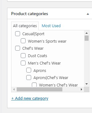 product catagory in woocommerce