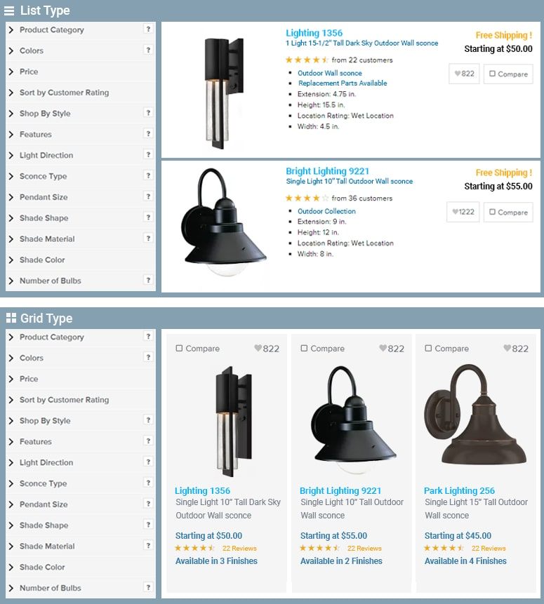 Product listing view & grid view example of a online store page