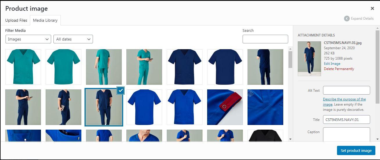 select main product image woocommerce