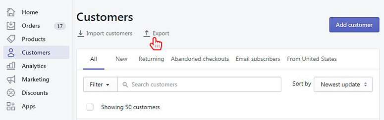 shopify customers import export