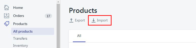 shopify import product