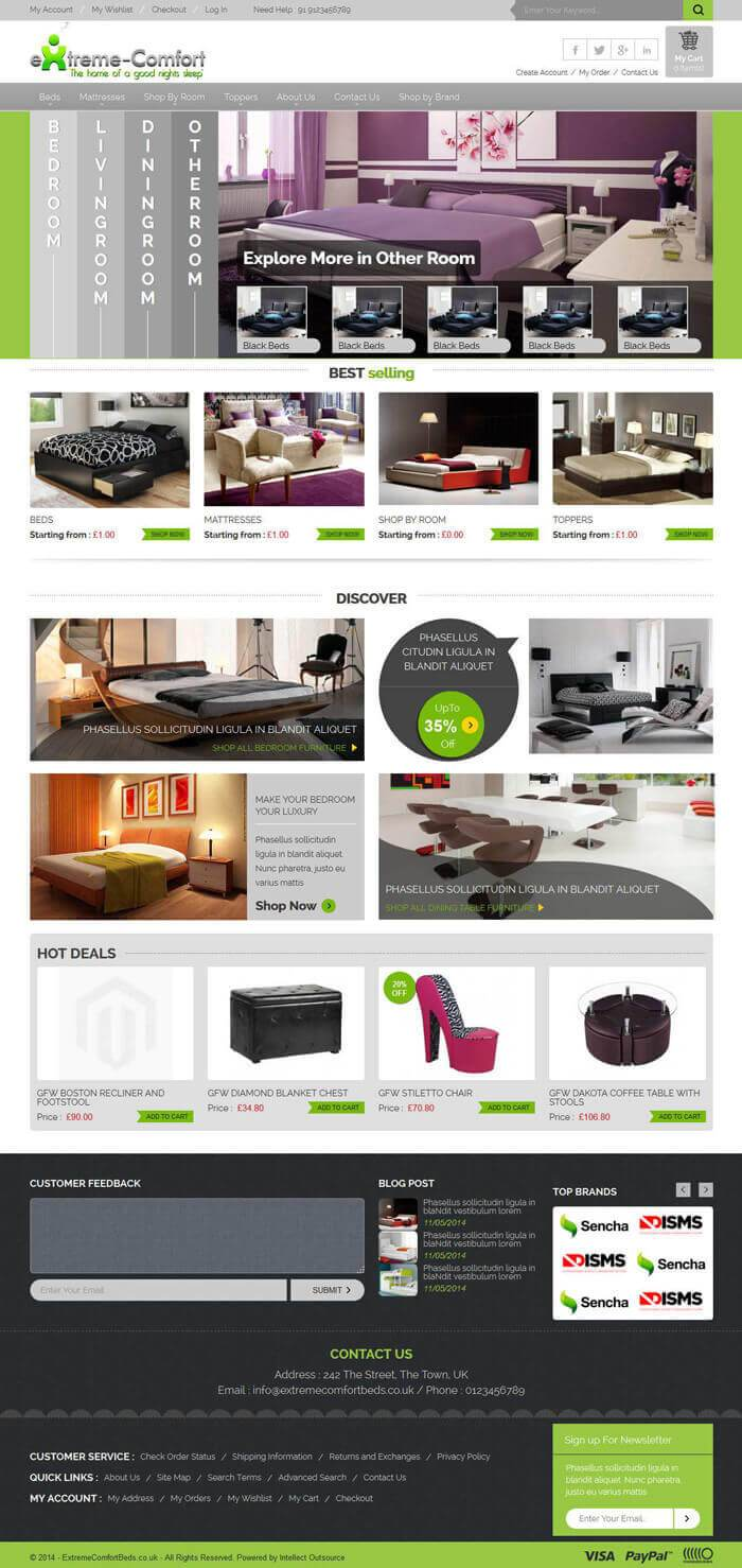 extreme comfort beds magento template