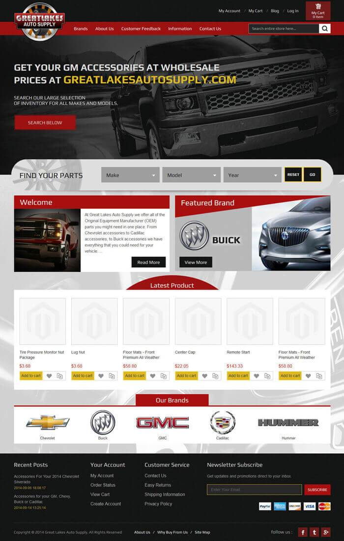 greatlakes auto supply magento template